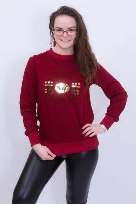 Divatos női nyomott mintás bordó pulóver