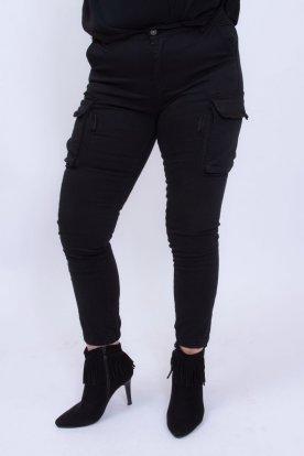 Divatos oldalt zsebes női fekete nadrág