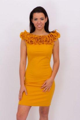 Divatos egyedi tervezésű vállán fodros női mini ruha