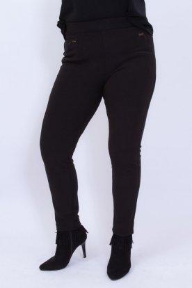 Divatos női nagy méretű fekete színű enyhén bélelt alkalmi nadrág
