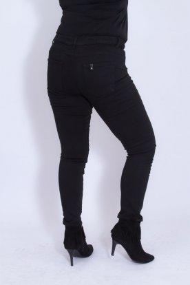 MISS BONBON divatos nagy méretű női fekete farmernadrág