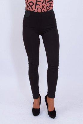 VICTORIA MODA női derekán gumis fekete elegáns nadrág