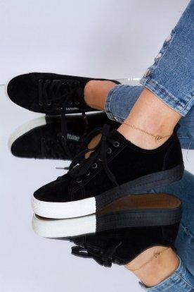 Divatos női fekete színű velúr felületű sportcipő oldalán cipzárral