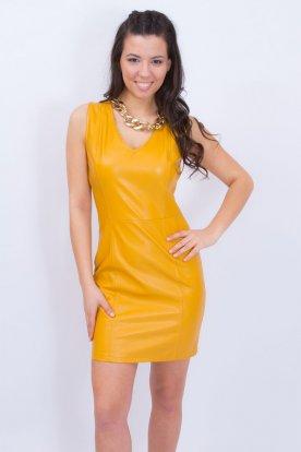 Elegáns mustársárga mély V kivágású ujjatlan női műbőr ruha