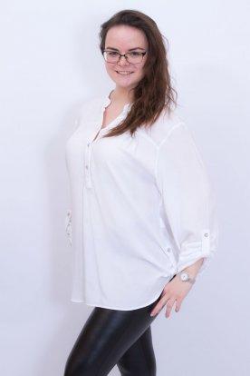 CATANIA extra nagy méretű fehér roll up-os ujjú női ingblúz