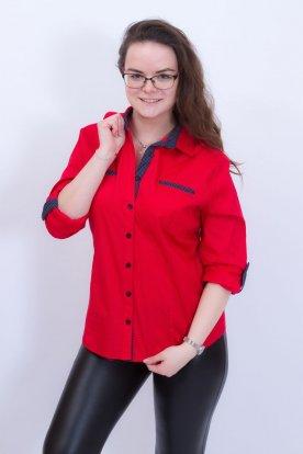 CATANIA divatos pötyökkel díszített nagy méretű piros ing