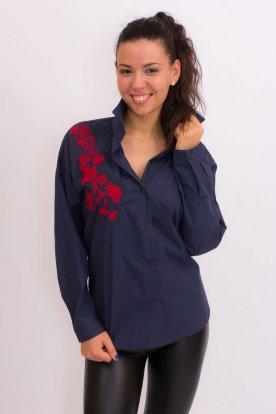 Női sötétkék alapon hímzett hosszú ujjú ing