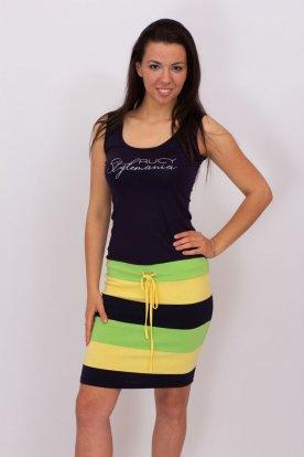 RUCY FASHION divatos nyári ujjatlan mini ruha csíkos mintázattal