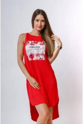 VICTORIA MODA divatos ujjatlan nyári A-vonalú mini ruha elöl nyomott mintával