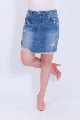 REDRESS JEANS divatosan szaggatott női farmer mini szoknya