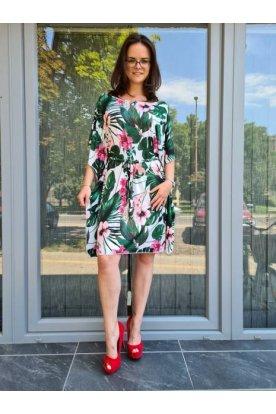 Divatos gyönyörű trópusi mintával színes virágos mini lepel ruha