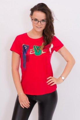 Divatos piros színű női rövid ujjú póló gyönyörű szinéz flitteres absztrakt mintával