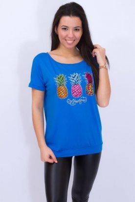 VIKTORIA MODA stilusos denevérujjú női felső divatos ananasz mintával díszítve