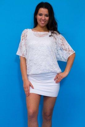 RUCY FASHION alkalmi fehér csipkes rövid ujjú tunika/mini ruha