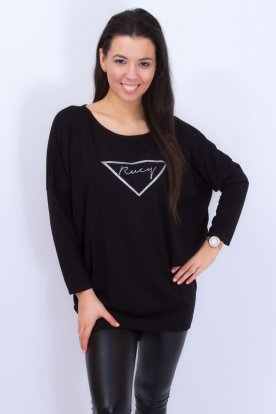 RUCY FASHION stilusos divatos hosszú ujjú fekete felső/tunika/ruha absztrakt díszítéssel