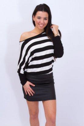 RUCY FASHION fekete-fehér csikos bőrszoknyás denevér fazonú divatos mini ruha /tunika