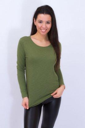 VIKTORIA MODA khaki színű női hosszú ujjú testhezálló póló