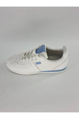 Divatos női fehér színű fűzős sportcipő kék díszítéssel