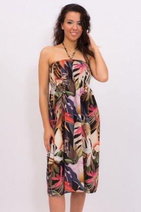 Gyönyörű nyári anyagában trópusi mintás ujjatlan női mini ruha és szoknya egyben