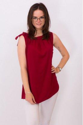 Női divatos A-vonalú nyakán oldal megkötős ujjatlan egyszínű felső
