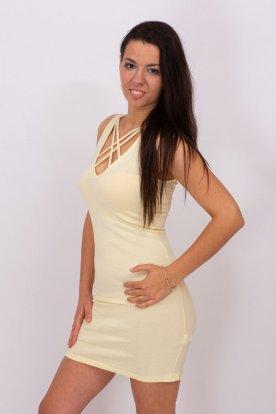 VIKTORIA MODA divatos szexi sárga ujjatlan miniruha rácsos nyakú
