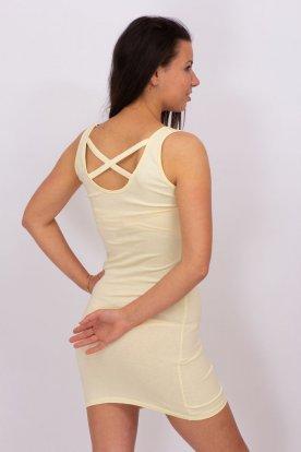 VIKTORIA MODA divatos sárga színű mely nyakú hatúl racsos miniruha