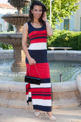RUCY FASHION divatos ujjatlan színes csíkos maxi ruha felsliccelt szoknya résszel