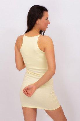 VIKTORIA MODA divatos magas nyakú sárga színű szexi miniruha