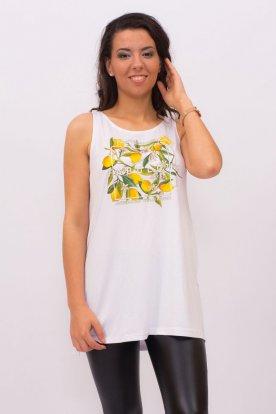 VIKTORIA MODA divatos fehér színű citromos nyomott mintával női hoszitott A-vonalú trikó
