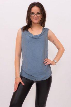 Elegáns egyszínű kámzsás nyakú ujjatlan felső/trikó
