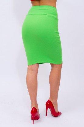 VICTORIA MODA derekánál széles gumis bordázott női mini szoknya