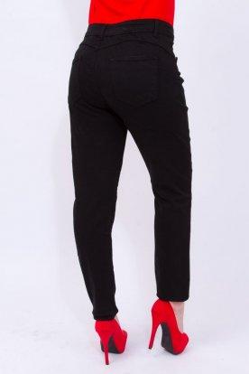 MISS BONBON divatos női nagy méretű push up-os egyszerű fekete farmernadrág