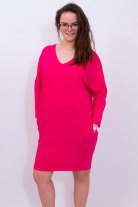 VICTORIA MODA divatos V-nyakú hosszú ujjú bőszabású mini ruha / tunika