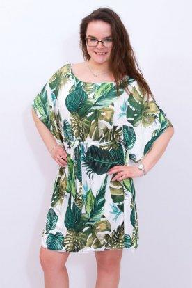 Stilusos gyönyörű trendi trópusi levélmintás fehér zöld színben mini lepel ruha
