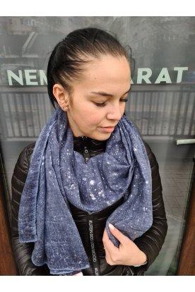 Divatos női ezüst pöttyökkel díszített kék színű sál