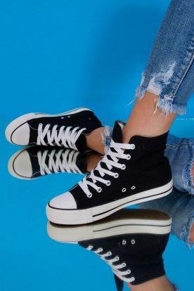 Egyszínű fekete vastag talpú fűzős vászon tornacipő