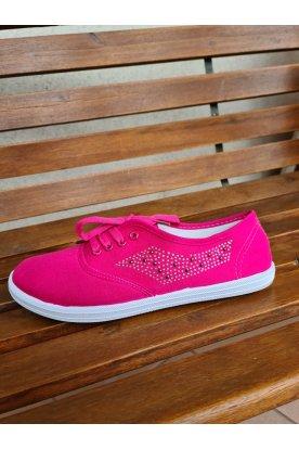 Divatos strasszkövekkel díszített pink női tornacipő