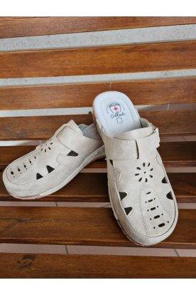 Női bézs színű mintás lábfejnél tépőzárral állítható kényelmi gyógypapucs