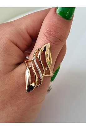 Elegáns csillogó széles elülső részes női aranyozott antiallergén gyűrű
