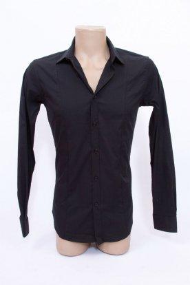 Elegáns hosszú ujjú karcsúsított férfi fekete színű ing