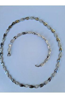 Elegáns ezüstözött csillámos női nyaklánc és karkötő szett