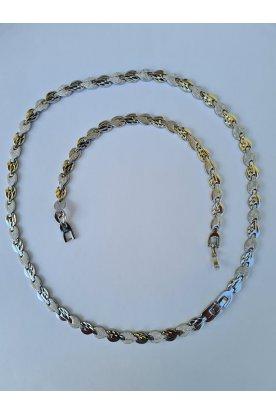 Alkalmi egyedi mintával ellátott női ezüstözött karkötő és nyaklánc ékszerszett