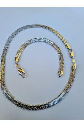Elegáns ezüstözött női karkötő és nyaklánc ékszerszett egyedi mintával