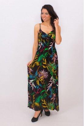 Divatos trópusi mintás spagetti pántos derék részen gumis nyári maxi ruha