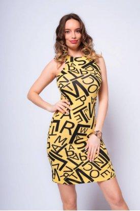 VICTORIA MODA divatos betű grafikával díszített ujjatlan női mini ruha
