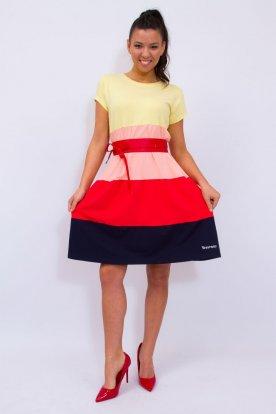 YESSTORY divatos női négy színű A vonalú rövid ujjú mini ruha