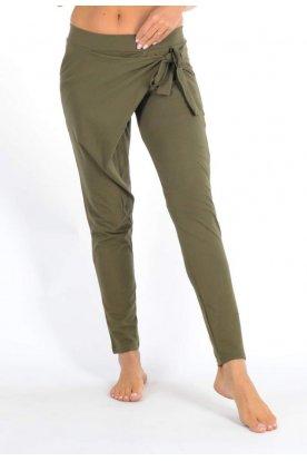 YESSTORY divatos vékony pamut átlapolt nadrág mely oldalán megköthető