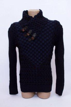 Divatos kötött magas egyedi kialakítású garbó nyakú hosszú ujjú férfi pulóver