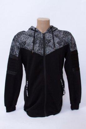 Divatos férfi cipzáros két oldalt zsebbel díszített pulóver