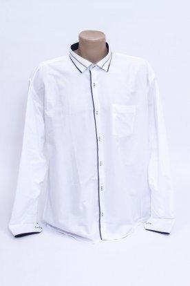 Elegáns fehér színű anyagában mintás férfi hosszú ujjú ing sötétkék szegéllyel